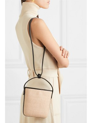 TL-180 saigon woven raffia and leather shoulder bag