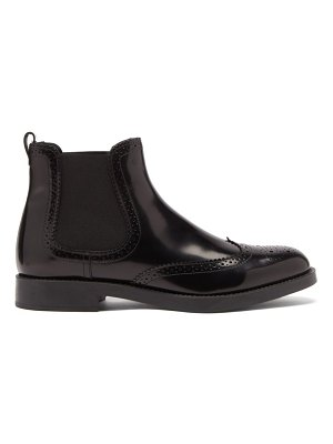Tod's brogue-perforated leather chelsea boots