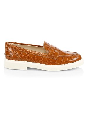 Tod's croc-embossed leather penny loafers
