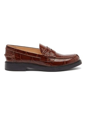 Tod's crocodile-embossed leather loafers