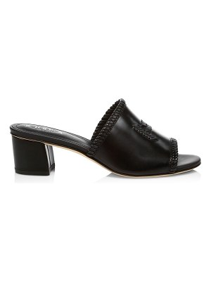 Tod's double t woven leather mules