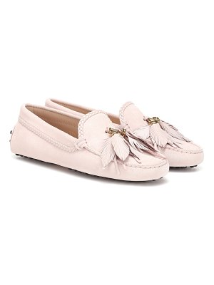 Tod's Embellished suede loafers