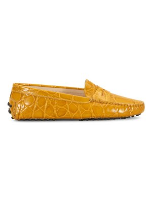 Tod's gommini croc-embossed leather driving loafers