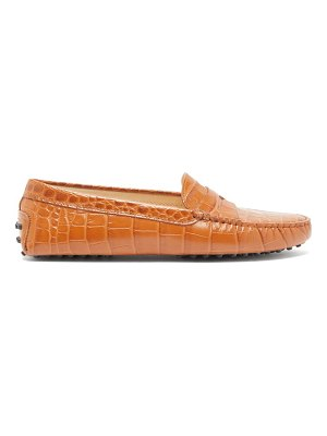 Tod's gommini crocodile-embossed leather loafers