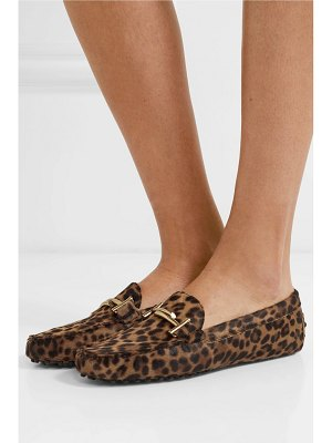 Tod's gommino embellished leopard-print calf hair loafers