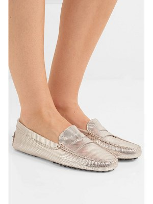 Tod's gommino embossed metallic leather loafers