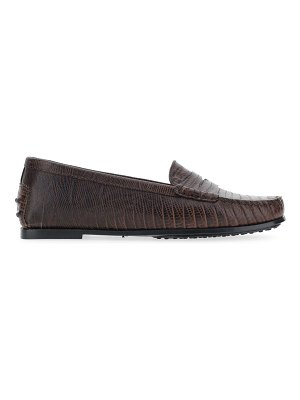 Tod's gommino lizard-embossed leather driving loafers