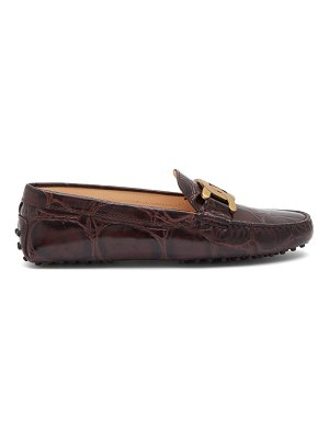 Tod's kate gommino-sole crocodile-effect leather loafers