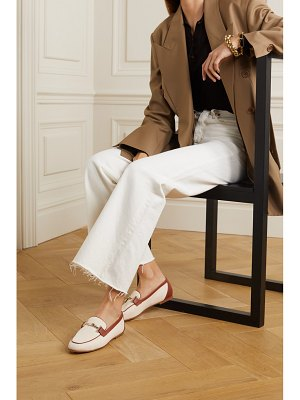 Tod's leather-trimmed embellished canvas loafers - off-white