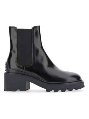 Tod's lug-sole patent leather chelsea boots