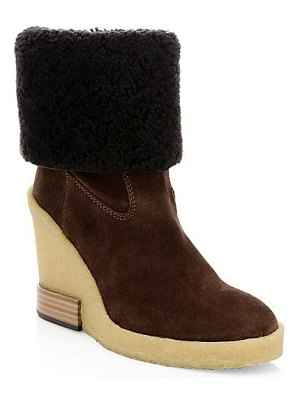 Tod's zeppa para suede wool wedge boots