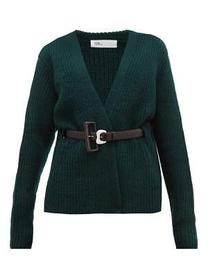 TOGA belted ribbed-knit wool cardigan