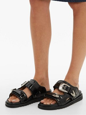 TOGA buckled double strap leather slides