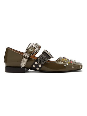TOGA Crystal-embellished patent-leather flats