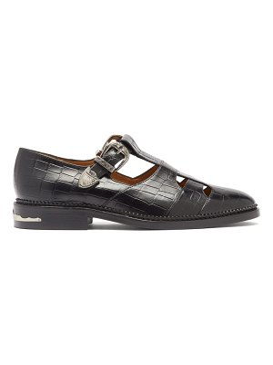 TOGA dolly buckled t-bar crocodile-effect leather flats