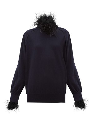 TOGA feather trim wool blend sweater
