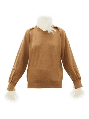 TOGA feather-trimmed wool-blend sweater