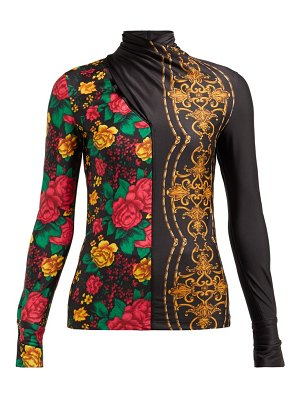TOGA floral-print crossover high-neck top