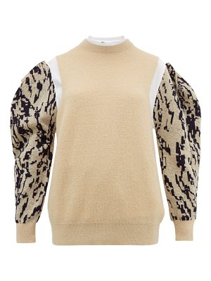 TOGA puff sleeve jacquard mohair-blend sweater
