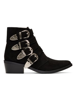 TOGA PULLA suede four buckle western boots