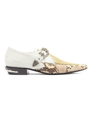 TOGA python-embossed point-toe leather brogues