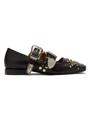 TOGA Stud-embellished buckled leather flats