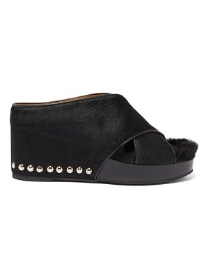 TOGA studded shearling and calf hair platform wedges