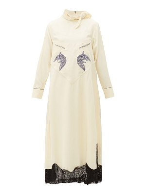 TOGA tie neck embroidered lace trim dress
