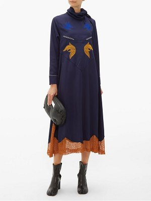TOGA tie neck embroidered midi dress
