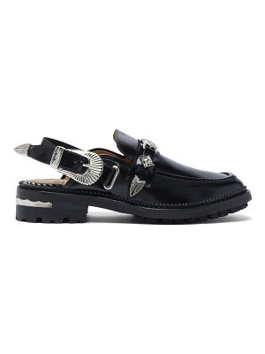 TOGA western-buckle slingback leather loafers