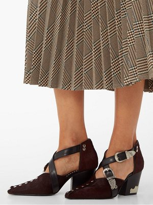 TOGA western crossed strap calf hair pumps
