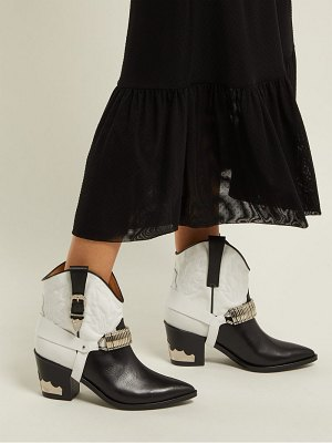 TOGA Western Harness Leather Ankle Boots