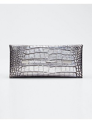 TOM FORD Ava Laminated Embossed Croc Pochette Clutch Bag