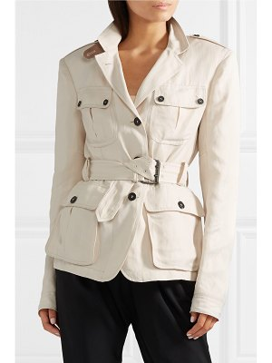 TOM FORD belted leather-trimmed twill jacket