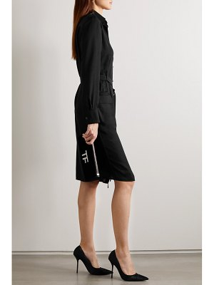 TOM FORD belted washed-twill shirt dress
