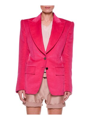 TOM FORD Cotton Velvet Two-Button Jacket with Strong Shoulders