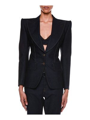 TOM FORD Denim Two-Button Jacket with Strong Shoulders