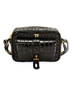 TOM FORD Embossed-Croc Camera Crossbody Bag