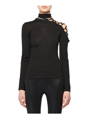 TOM FORD Eyelet-Shoulder Long-Sleeve Cashmere-Silk Knit Top