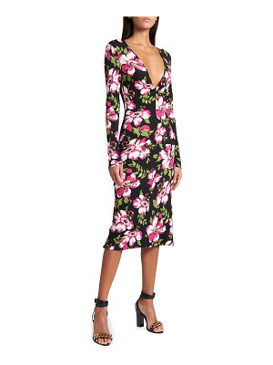 TOM FORD Floral Long-Sleeve Crepe Midi Dress