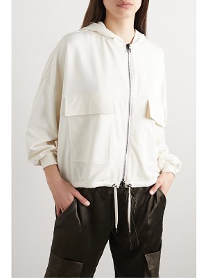 TOM FORD hooded paneled jersey, satin and piqué track jacket