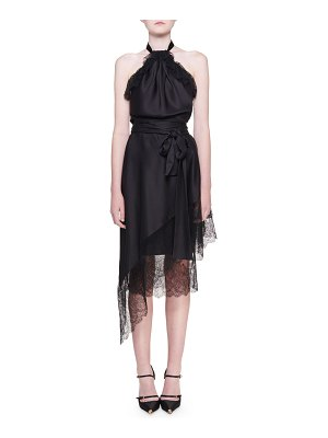 TOM FORD Lace-Trim Wrapped-Skirt Halter Dress