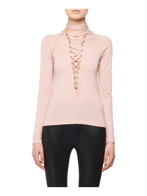 TOM FORD Lace-Up Long-Sleeve Cashmere-Silk Knit Top