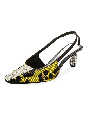 TOM FORD Leopard-Beaded Slingback Pumps