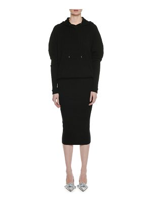 TOM FORD Long-Sleeve Ribbed Stretch-Cashmere Hooded Dress w/ Blouson Top