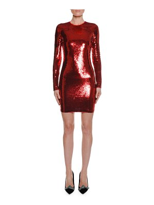 TOM FORD Long-Sleeve Round-Neck Liquid-Sequin Cocktail Dress