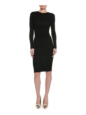 TOM FORD Long-Sleeve Ruched Viscose-Crepe Pencil Dress
