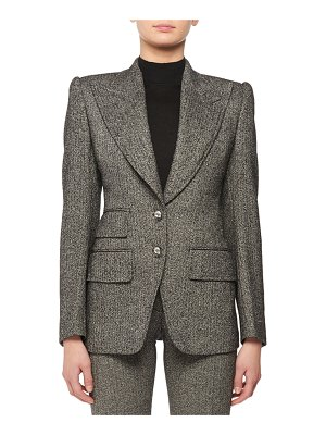 TOM FORD Peak-Lapel Two Crystal Button Fitted Tweed Jacket
