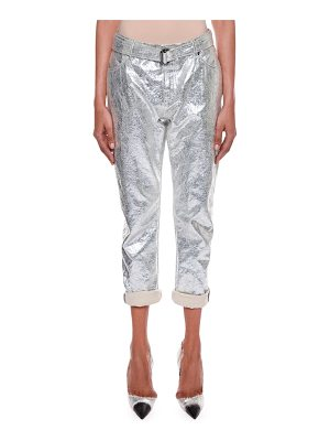 TOM FORD Rolled-Cuff Metallic-Coated Cropped Boyfriend Jeans