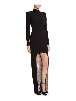 TOM FORD Sequin-Face High-Low Cady Long-Sleeve Gown